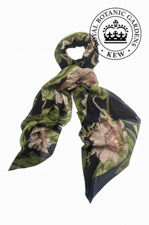 Passion Flower Black Scarf