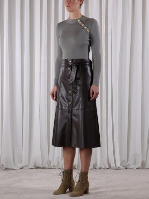 Dark Chocolate Faux Leather Skirt